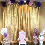 grad party. prom. princess party. wedding. wedding rentals. pipe and drape. gold pipe and drape. gold curtains. photo booth