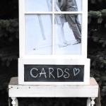 wedding decorations. vintage window frame. vintage card box. vintage program holder.