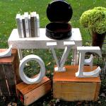 vintage wedding. rustic wedding. barn wedding. rustic barn wedding. vintage wedding decorations. LOVE letters.
