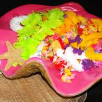 Tropical decor, giant clam shell, leis, luau