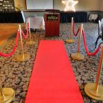 red carpet. red carpet decorations. VIP theme. Hollywood theme. Oscar theme.