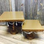 gold cake stands. wedding. vintage wedding. gold wedding. shabby chic wedding. rustic glam wedding. cake stands. cupcake stands.