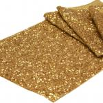 wedding. gold sequence runners. table runners. gold glitter runners. gold runners