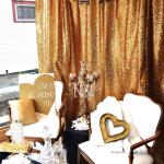 wedding. wedding rentals. pipe and drape. pipe and drape rentals. gold pipe and drape. gold curtains. gold panels. photo booth.