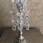 silver. jeweled candles. silver jeweled candelabras.wedding. wedding centerpieces