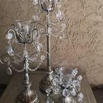 wedding. wedding centerpieces. silver centerpieces. silver candles. jeweled candles.