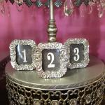 table numbers, silver table numbers, wedding