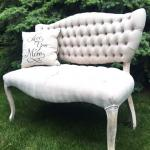 sofa. love seat. vintage couch. sweet heart table. wedding. photo props.