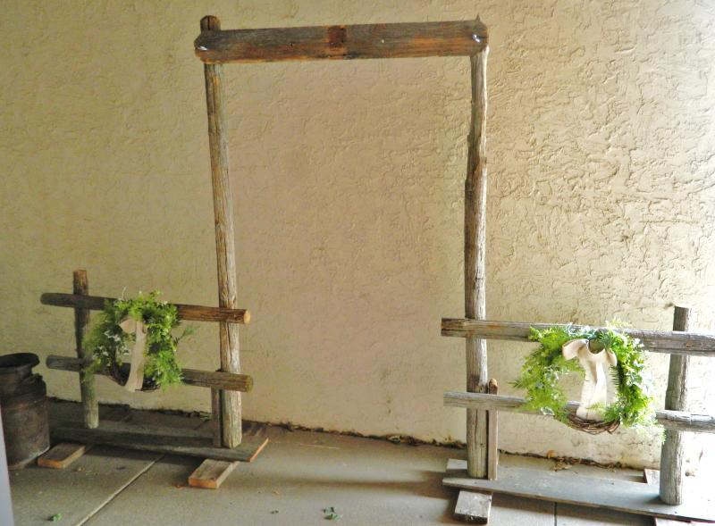 Rustic Wedding Arch.Rustic Wooden Arch Fence Set All The Rage Decor