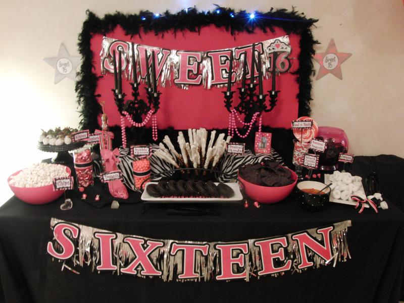 Black and hot pink is a popular theme for sweet 16 parties this party